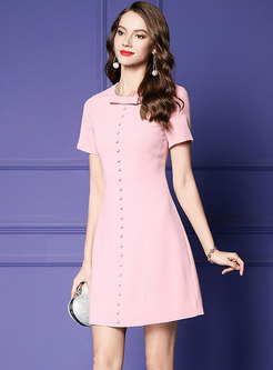 Sweet Pink Bowknot Short Sleeve Gathered Waist Mini Dress