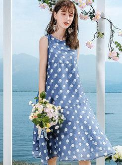 Chic O-neck Blue Polka Dot Sleeveless Shift Dress