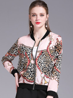 Print Color-blocked Leopard Chiffon Jacket