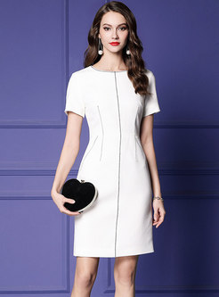 Brief White O-neck Work Gathered Waist Sheath Dress