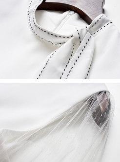 Solid Color Tied Bowknot Mesh Splicing Slim Skater Dress