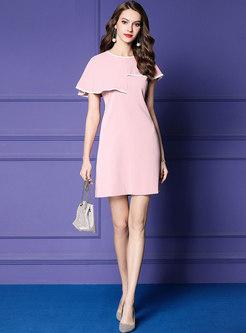 Brief High Waist Falbala Cloak Pure Color Skater Dress