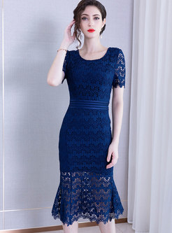 Fashion O-neck Lace Pure Color Mermaid Bodycon Dress