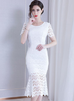 Lace Splicing Perspective Slim Mermaid Bodycon Dress
