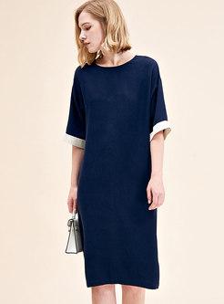 Brief Color-blocked Silk Half Sleeve Shift Dress
