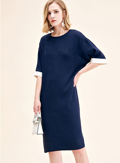 Brief Color-blocked Silk Half Sleeve Shift Dress