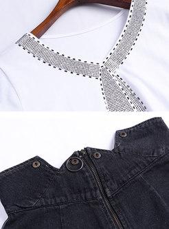 V-neck Stereoscopic Pattern T-shirt & Black Denim Sheath Skirt