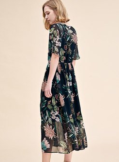 Black Print V-neck Gathered Waist Ruffle Sleeve Skater Dress