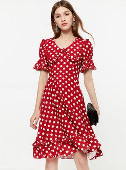 Fashion V-neck Dot Pattern Flare Sleeve A Line Dress