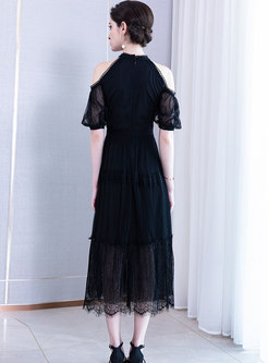 Sexy Off Shoulder Lantern Sleeve Perspective Maxi Dress