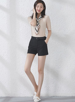 Casual Black High Waist All Match Shorts