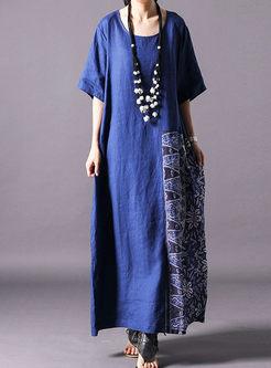 Ethnic O-neck Print Splicing Loose Shift Dress