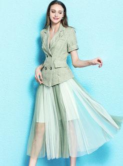 Stylish Notched Short Sleeve Blazer & Mesh Skirt