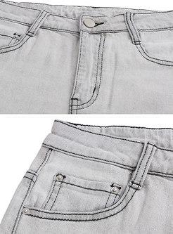Denim Letter Print High Waist Slim Shorts