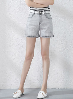 Denim Letter Print High Waist Slim Shorts