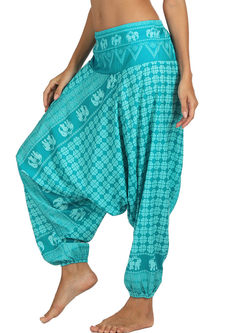 Plus Size Geometric Print Yoga Lantern Pants