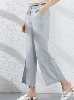 Casual Elastic Waist Tied Wide Leg Pants