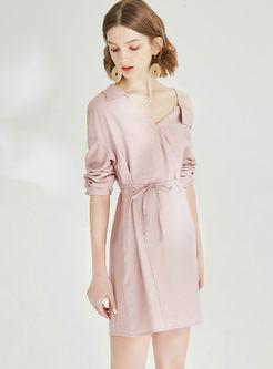 Fashion V-neck Off Shoulder Waist Skater Dress