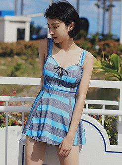 Striped Tied Cover-up Two Piece Swimwear