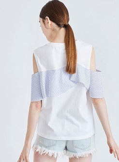 O-neck Off Shoulder Splicing Falbala T-shirt