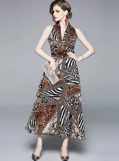Sexy Leopard V-neck Sleeveless Slim Maxi Dress