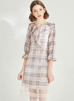 V-neck Half Sleeve Falbala Plaid Slim Mesh Dress
