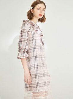 V-neck Half Sleeve Falbala Plaid Slim Mesh Dress