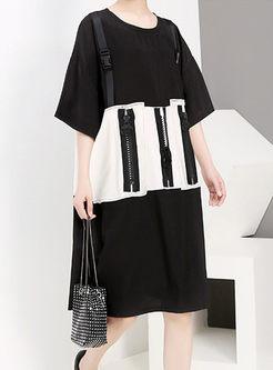 Color-blocked Short Sleeve Loose Shift Dress
