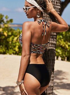 Sexy Print Halter Neck Hollow Out Bikini