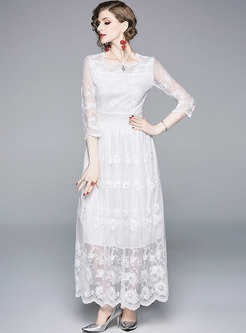Chic Embroidered Gathered Waist Hem Maxi Dress