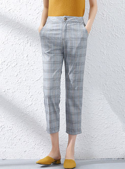 Stylish Houndstooth Casual Straight Pants