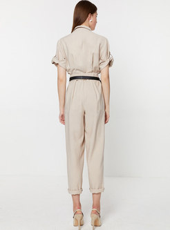 Solid Color Lapel Short Sleeve Belted Summer Jumpsuit