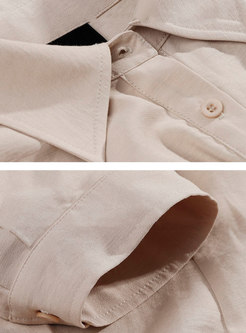 Solid Color Lapel Short Sleeve Belted Summer Jumpsuit