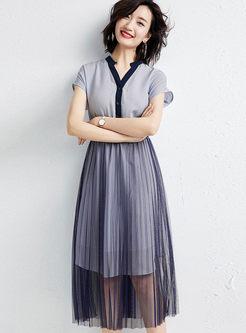 Casual V-neck Chiffon Skater Dress With Mesh Skirt