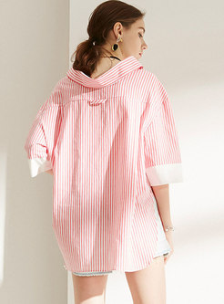Casual Letter Embroidered Striped Loose Blouse