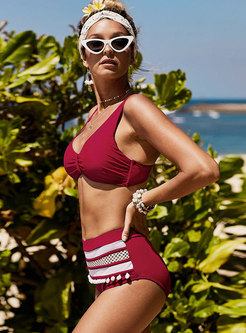 Chic Color-blocked V-neck Slim Bikini