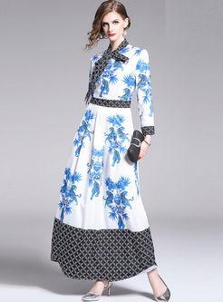 Court Long Sleeve Print High Waist Maxi Dress