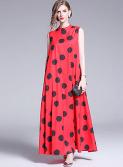 Elegant Standing Collar Sleeveless Polka Dot Dress