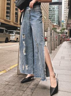 Chic Denim Tassel Slit Holes Wide Leg Pants