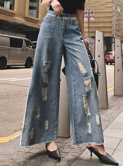 Chic Denim Tassel Slit Holes Wide Leg Pants