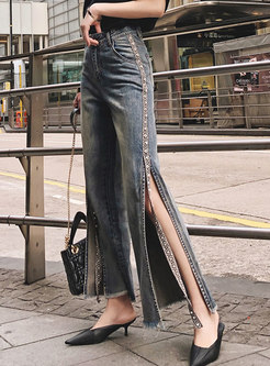Retro Denim High Waist Splicing Slit Straight Pants