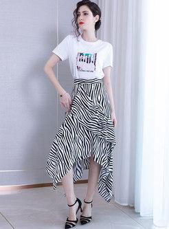 Casual Asymmetric Striped Falbala Chiffon Skirt