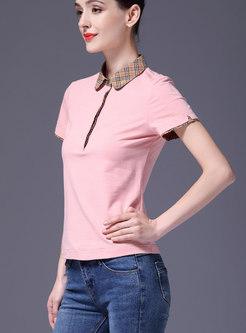 Brief Plaid Turn-down Collar Sheath T-shirt