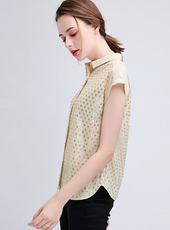 Stylish Diamond-studded Lapel Sequined Blouse
