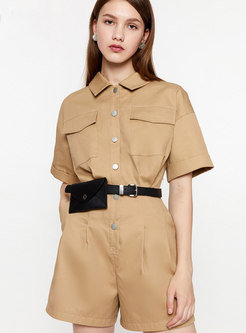 Brief Pure Color High Waist Casual Rompers