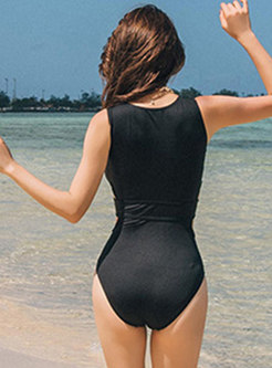 Stylish Splicing Perspective One Piece Swimwear