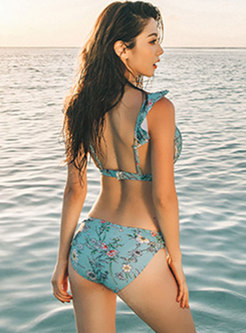 Trendy Floral Gathered Slim Bikini