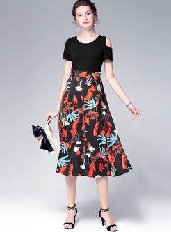 Print Splicing Off Shoulder A Line Dress