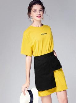 Letter Print O-neck T-shirt Dress & Asymmetric Skirt