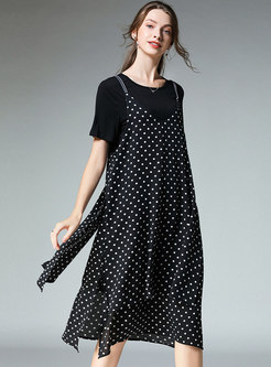 Casual O-neck T-shirt & Polka Dot Asymmetric Slip Dress